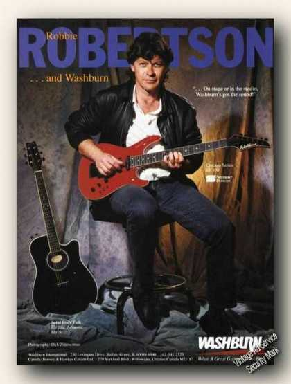 Robbie Robertson Photo Washburn Guitars (1989)