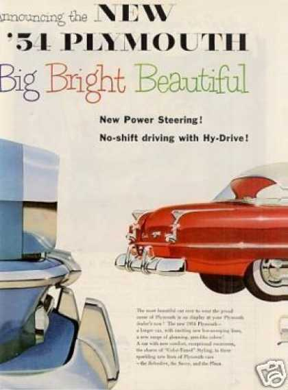 Plymouth Car Ad 2 Page (1954)