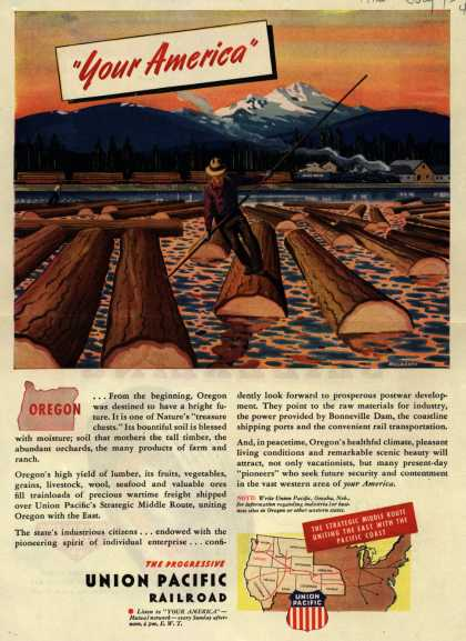 "Union Pacific Railroad's Middle Route – ""Your America"" Oregon (1945)"