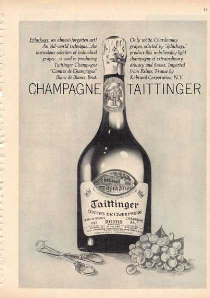 Taittinger French Bottle 1955 Champagne (1962)