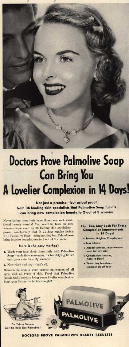 Palmolive Company's Palmolive Soap – Doctors Prove Palmolive Soap Can Bring You A Lovelier Complexion in 14 Days (1950)
