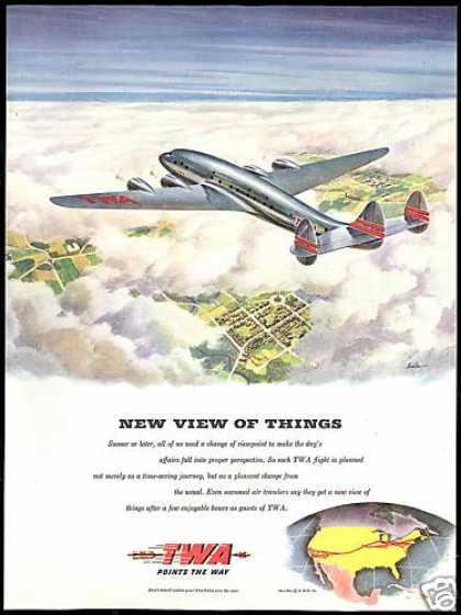 TWA Airlines Points The Way Kuzka Art Vintage (1945)