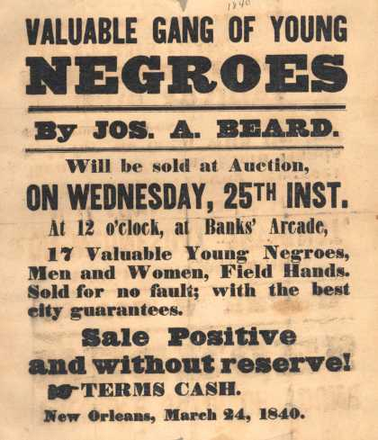 Jos. A. Beard – Valuable Gang of Young Negroes (1840)