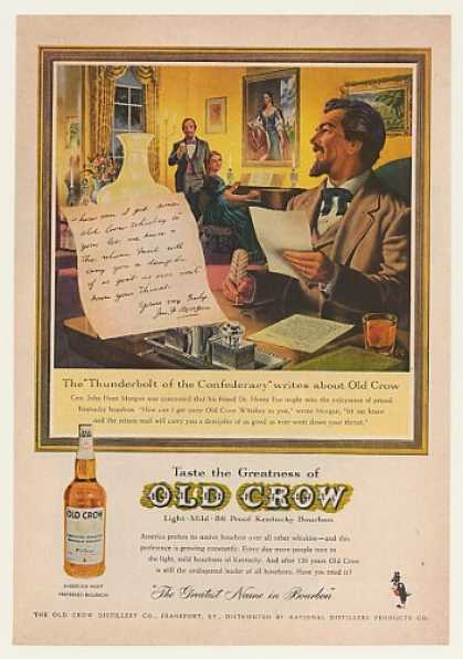 Gen John Hunt Morgan Old Crow Bourbon Whiskey (1961)