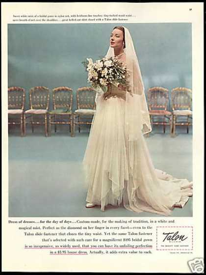 Pretty Bride Wedding Dress Talon Fastener (1948)