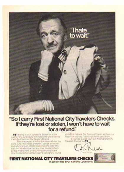 First National City Travelers Checks – David Niven (1976)