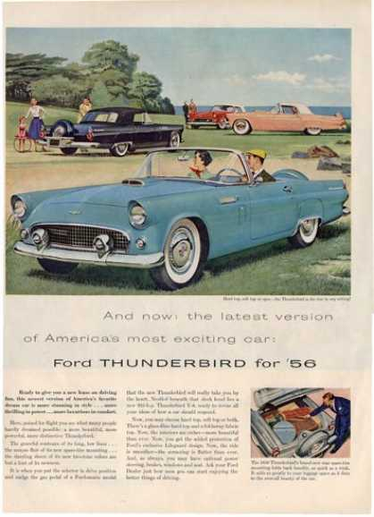 Ford Thunderbird Beach Painting Car Ad T (1956)