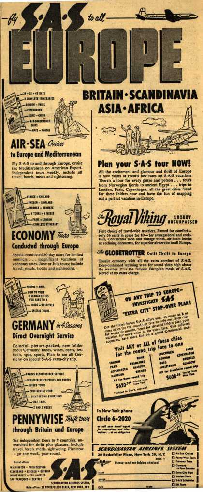 Scandinavian Airlines System's Europe – Fly SAS to all Europe (1953)