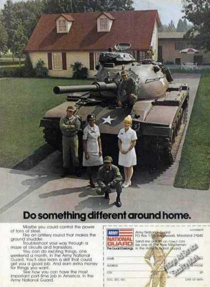 Army National Guard Tank In Driveway Recruiting (1975)