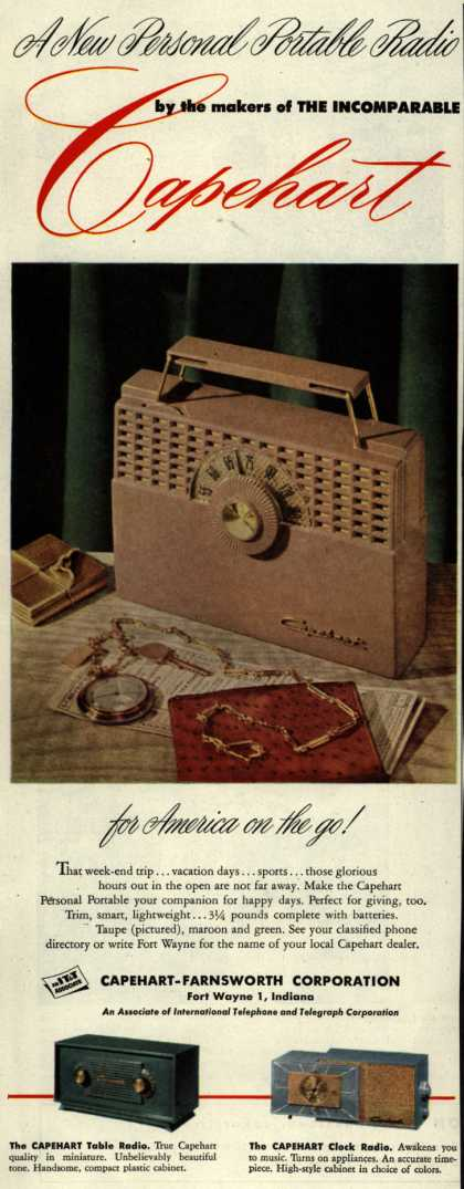 Capehart-Farnsworth Corporation's portable radio – A new Personal Portable Radio by the makers of the INCOMPARABLE Capehart (1954)