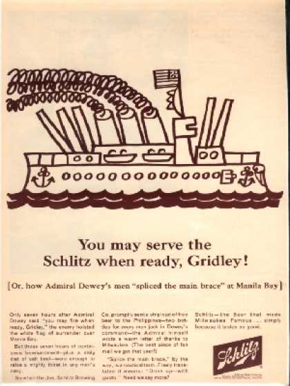 """You may serve the Schlitz when ready, Gridley!"" (1964)"