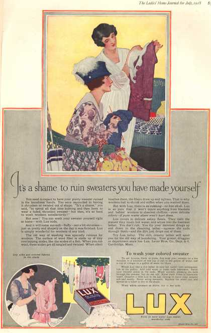 Lever Bros.'s Lux (laundry flakes) – It's a shame to ruin sweaters you have made yourself (1918)