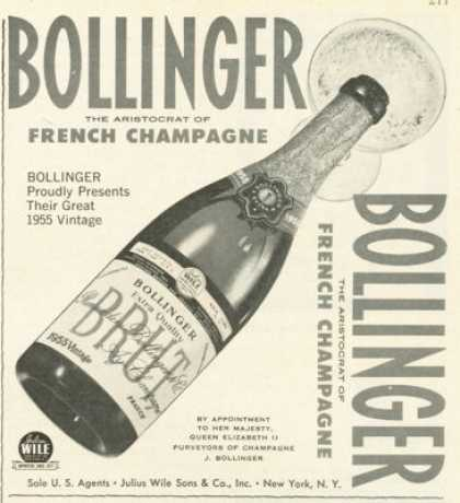Bollinger Brut French Champagne Ad 1955 (1961)