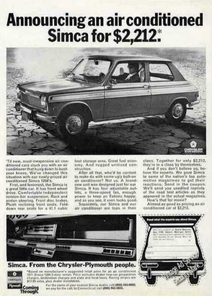 Announcing an Air Conditioned Simca for $2,212 (1971)