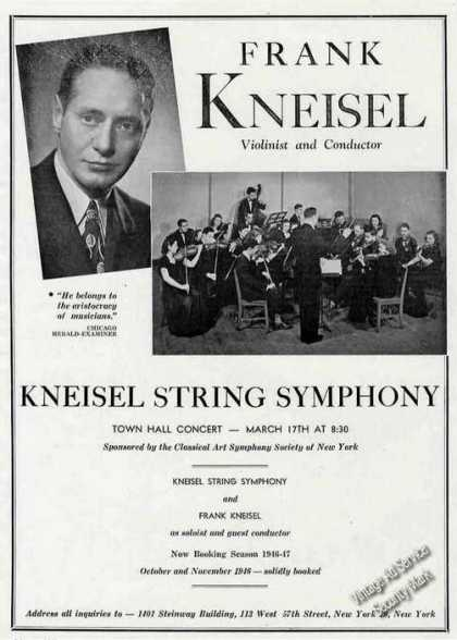 Frank Kneisel String Symphony Photos Trade (1946)