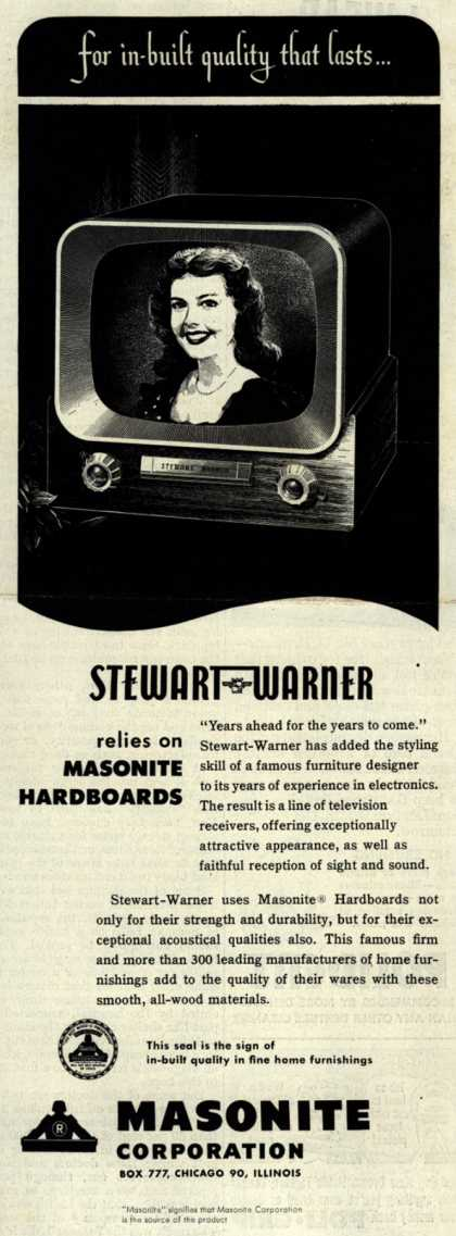 Stewart-Warner Corporation's Masonite Hardboards – for built-in quality that lasts... Stewart-Warner relies on Masonite Hardboards (1951)