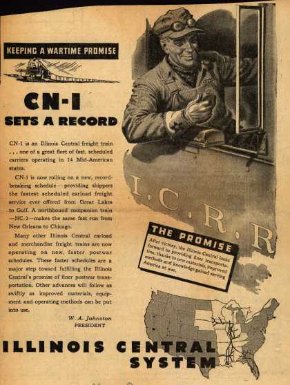Illinois Central Railroad – CN-1 Sets A Record (1945)