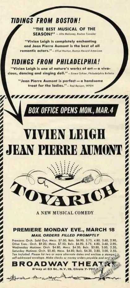 Vivien Leigh In Tovarich Broadway Theatre Promo (1963)
