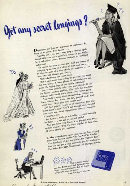 Kotex Company's Sanitary Napkins – Got any secret longings? (1941)