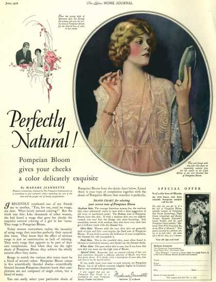 Pompeian Bloom's rouge – Perfectly Natural! Pompeian Bloom gives your cheeks a color delicately exquisite (1926)