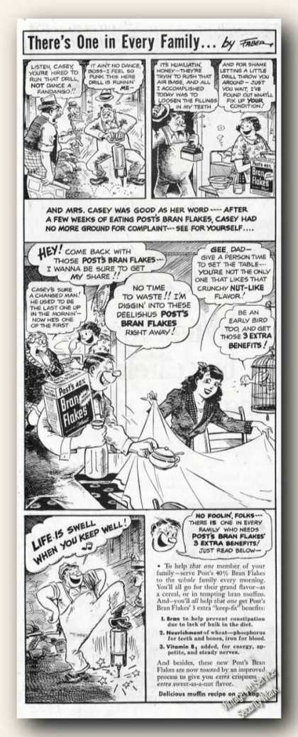 Post's Bran Flakes Feel Better Faber Cartoon (1942)