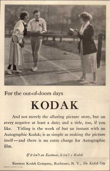Kodak's Autographic cameras – For the out-of-doors days: Kodak (1920)