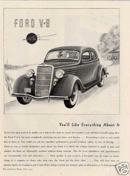 "Ford V-8 Car Ad ""You'll Like Everything... (1935)"