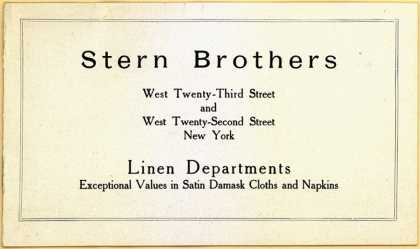 Stern Bros.'s women's clothings and fine linen – Advance Spring Selections (1911)