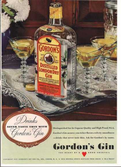 Gordons Distilled London Dry Gin (1939)