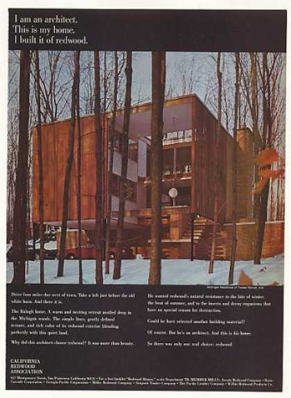 Architect Tivadar Balogh Michigan Redwood Home (1970)