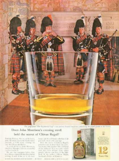 Chivas Regal Whisky Ad Regimental Cup Bag Pipes (1961)