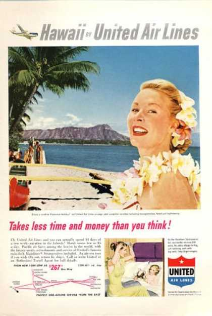 United Airlines Hawaii Diamond Head (1953)