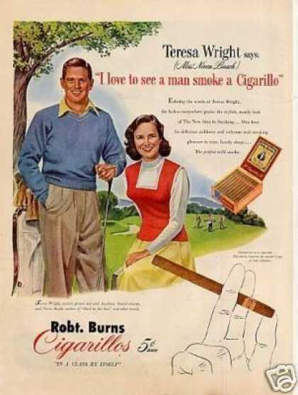 Robt. Burns Cigarillos Ad Teresa Wright (1951)