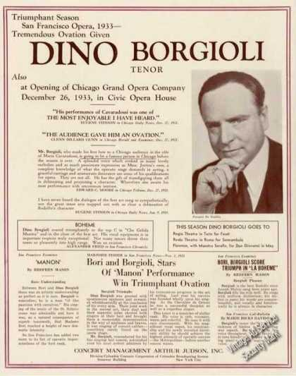 Dino Borgioli Photo Tenor Advertising (1934)