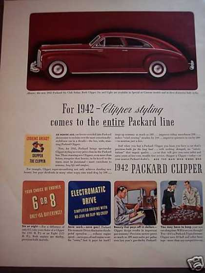 Packard Six Club Sedan Clipper for 1942 Red Car (1941)