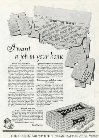 "Fels-naptha ""I Want a Job In Your Home"" Antique (1924)"