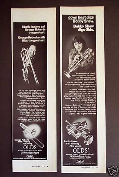 76 George Roberts Photo Olds Trumpet Trombone 2 Ads