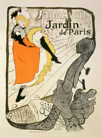 "Reproduction of a Poster Advertising ""Jane Avril"" at the Jardin De Paris (1893)"