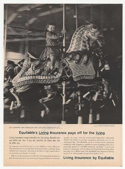 Girl Merry-Go-Round Photo Equitable Insurance (1958)