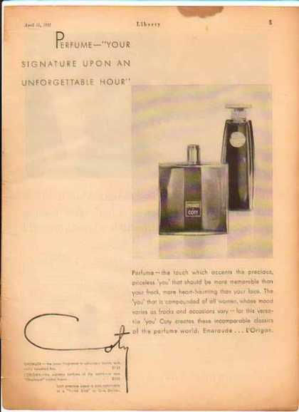Coty Perfume – Signature Upon An Unforgettable Hour (1931)