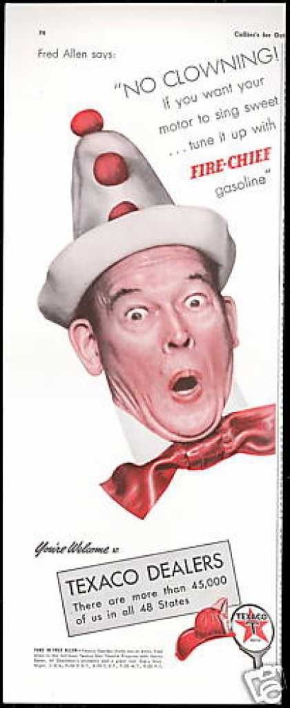 Fred Allen Clown Photo Texaco Gas Vintage (1941)