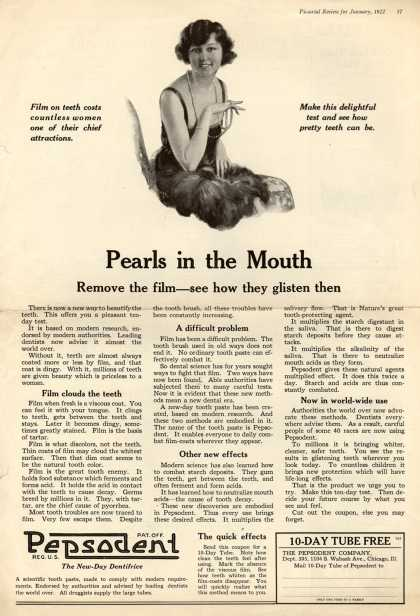 Pepsodent Company's Pepsodent Tooth Paste – Pearls in the Mouth (1922)