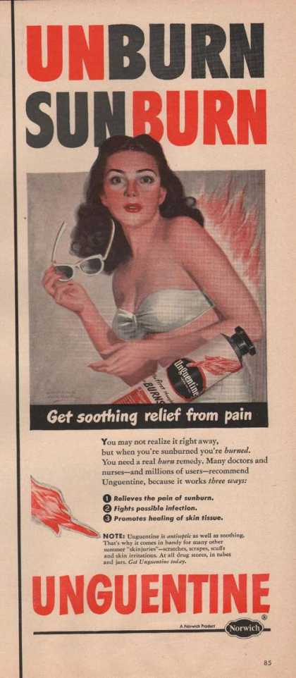 Unguentine Relieves Sunburn Pain (1949)