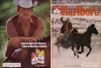 Marlboro Cigarettes Ads – Serious Cowboys Set of 2 (1976)