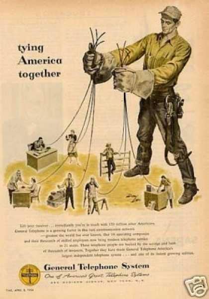 "General Telephone Ad ""Tying America Together... (1954)"