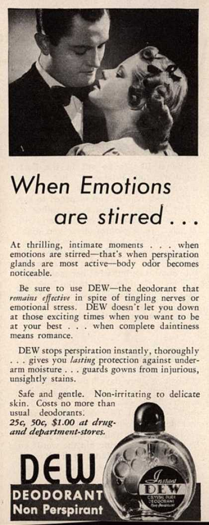 Marion Lambert's Dew Deodorant – When Emotions are stirred... (1937)