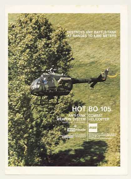 MBB BO 105 Combat Helicopter HOT Missile Photo (1985)