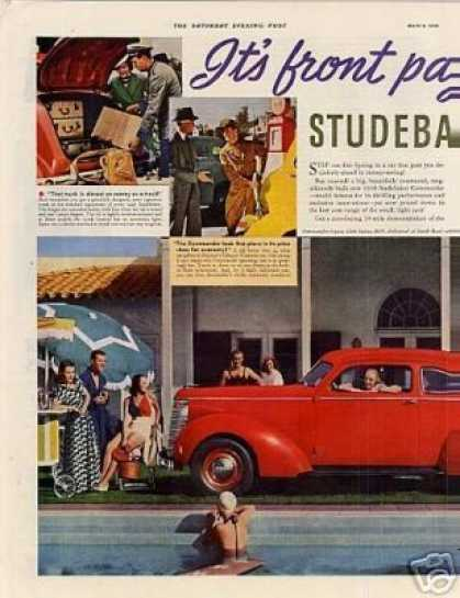 Studebaker Commander Car Color Ad Centerfold (1938)