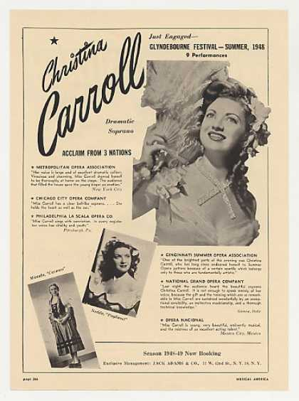 Opera Soprano Christina Carroll Photo Booking (1948)