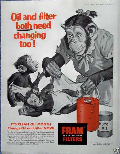 Fram Oil Filter Mother Monkey Changing Diaper (1956)
